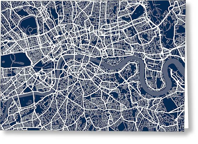 Waterways Greeting Cards - London England Street Map Greeting Card by Michael Tompsett