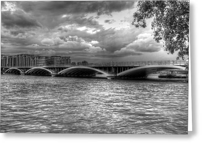 Chelsea Greeting Cards - London Thames Bridges BW Greeting Card by David French