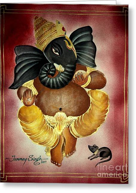 Lord Ganesha Greeting Card by Tanmay Singh