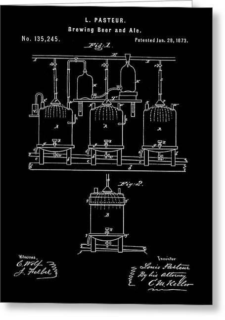 Louis Pasteur Beer Brewing Patent 1873 - Black Greeting Card by Stephen Younts