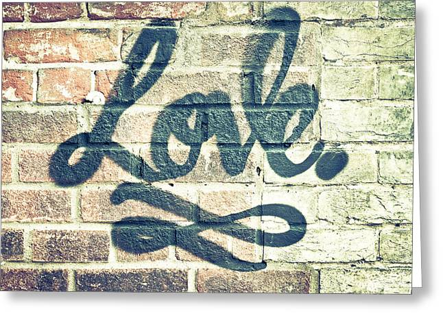 Stonewall Greeting Cards - Love graffiti Greeting Card by Tom Gowanlock