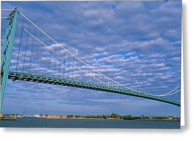 Detroit Photography Greeting Cards - Low Angle View Of A Suspension Bridge Greeting Card by Panoramic Images