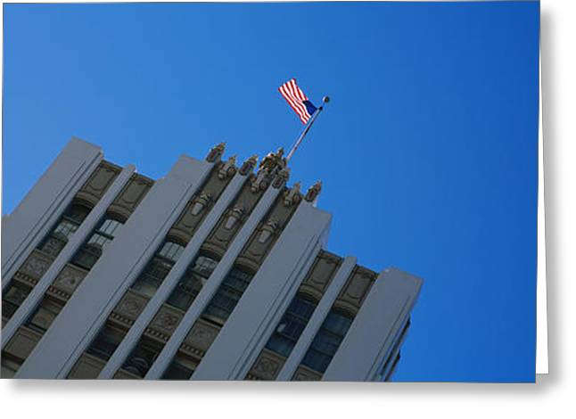 American Flag Photography Greeting Cards - Low Angle View Of An Office Building Greeting Card by Panoramic Images