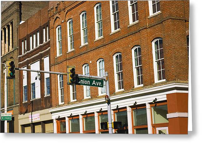 Low Wall Greeting Cards - Low Angle View Of Downtown Buildings Greeting Card by Panoramic Images