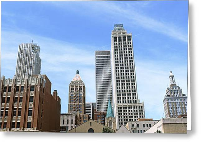 Tulsa Greeting Cards - Low Angle View Of Downtown Skyline Greeting Card by Panoramic Images