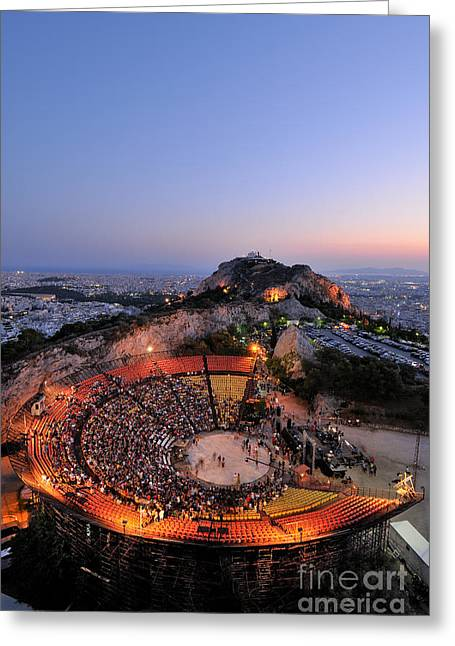 Theater Greeting Cards - Lycabettus hill Greeting Card by George Atsametakis