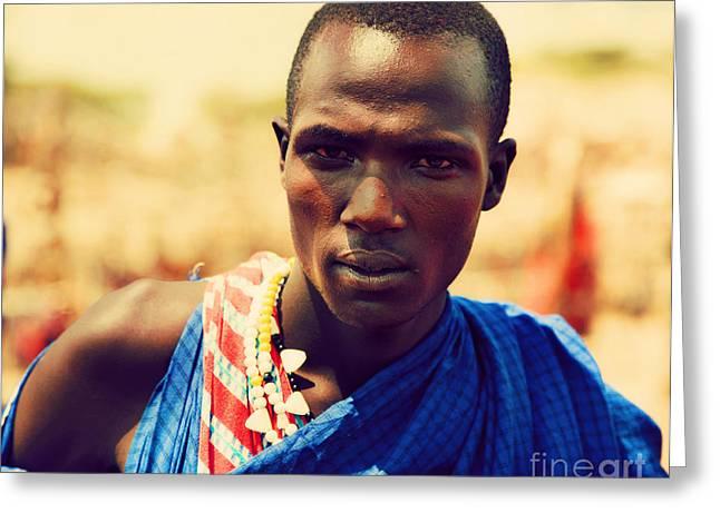 Apparel Greeting Cards - Maasai man portrait in Tanzania Greeting Card by Michal Bednarek