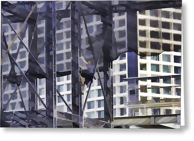 Singapore Greeting Cards - Man climbing a steel ladder in the Marina area in Singapore Greeting Card by Ashish Agarwal