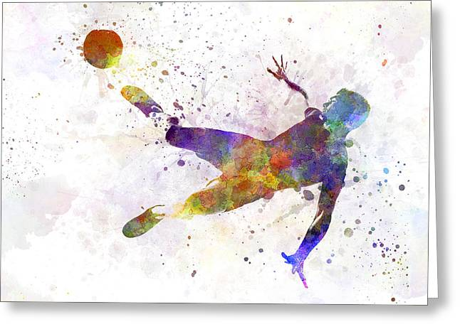 Cut-outs Paintings Greeting Cards - Man Soccer Football Player Flying Kicking Greeting Card by Pablo Romero