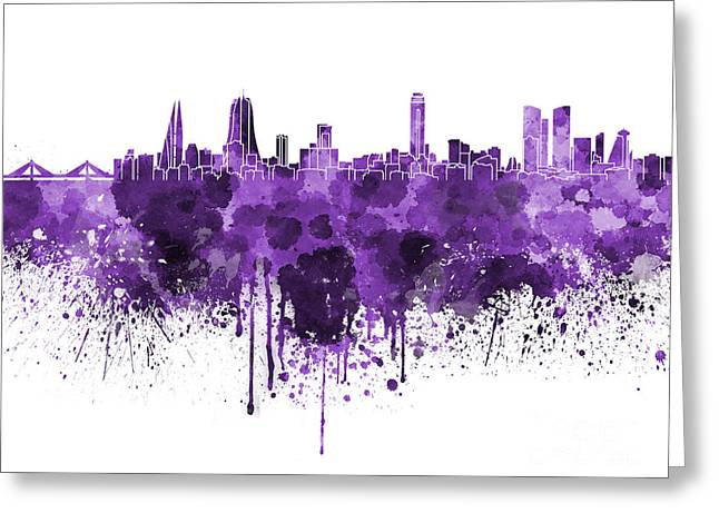 Bahrain Greeting Cards - Manama skyline in watercolor on white background Greeting Card by Pablo Romero