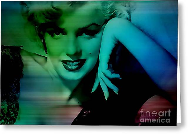 Color Image Greeting Cards - Marilyn Monroe Greeting Card by Marvin Blaine