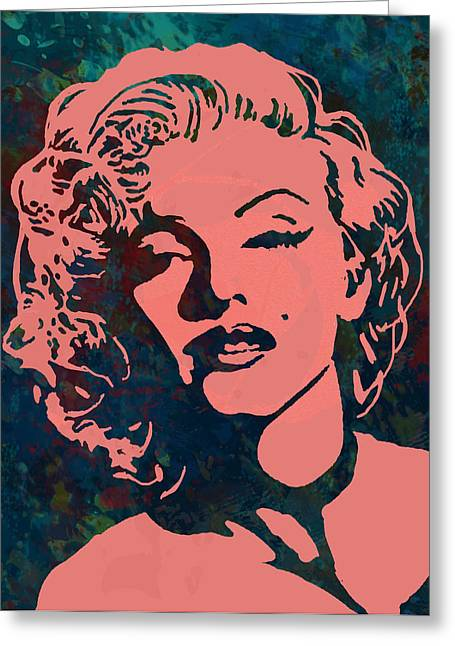 Norma Jeane Greeting Cards - Marilyn Monroe stylised pop art drawing sketch poster Greeting Card by Kim Wang
