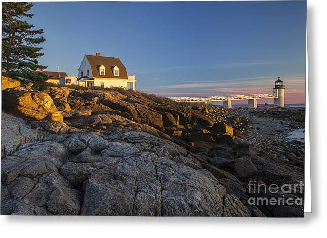 Maine Shore Greeting Cards - Marshall Point Light Greeting Card by Brian Jannsen