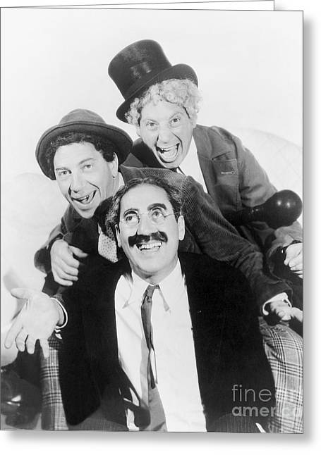 Marx Brothers Greeting Cards - Marx Brothers - Groucho Harpo and Chico Marx Greeting Card by MMG Archive Prints