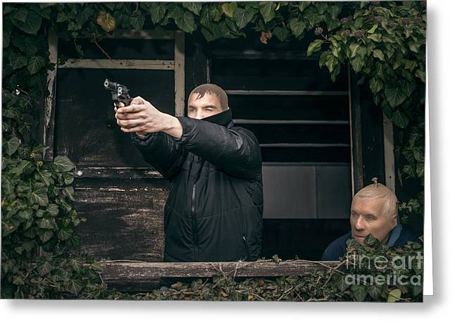 Accomplice Greeting Cards - Masked men with a gun Greeting Card by Jan Mika