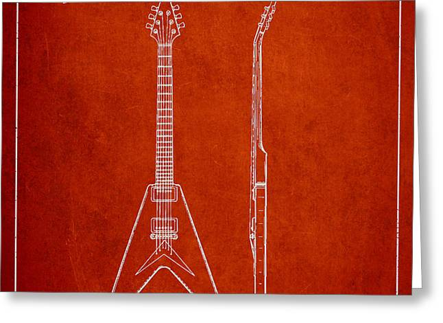 Mccarty Gibson Electric guitar patent Drawing from 1958 - Red Greeting Card by Aged Pixel