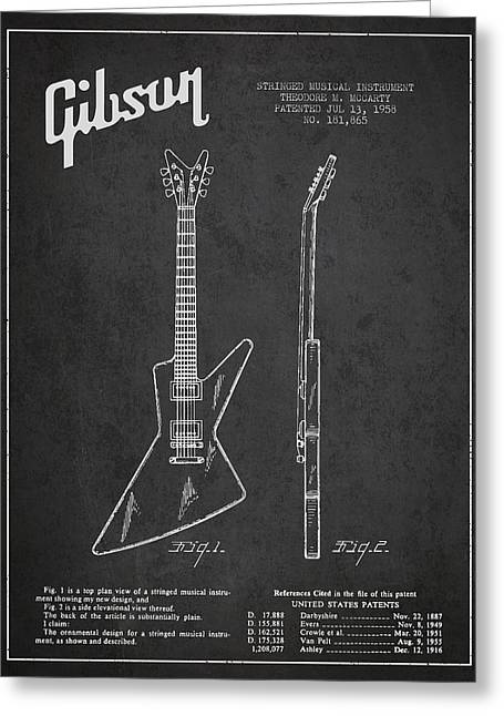 String Instrument Greeting Cards - McCarty Gibson electrical guitar patent Drawing from 1958 - Dark Greeting Card by Aged Pixel