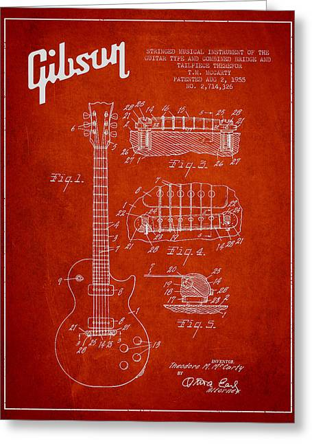 String Instrument Greeting Cards - Mccarty Gibson Les Paul guitar patent Drawing from 1955 - red Greeting Card by Aged Pixel