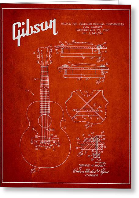 String Instrument Greeting Cards - Mccarty Gibson stringed instrument patent Drawing from 1969 - Red Greeting Card by Aged Pixel