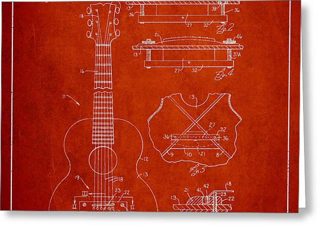 Mccarty Gibson stringed instrument patent Drawing from 1969 - Red Greeting Card by Aged Pixel