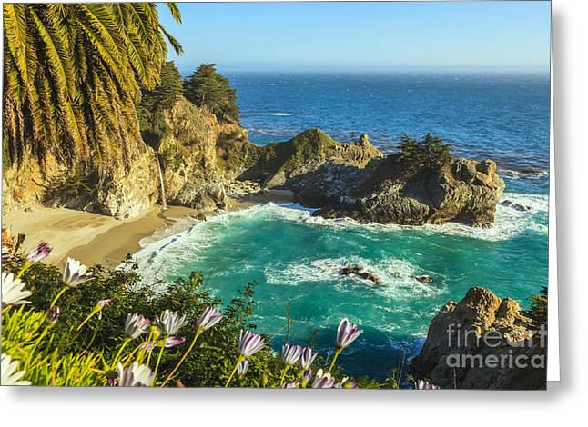 Big Sur Beach Greeting Cards - McWay Falls Big Sur California Greeting Card by Ken Brown