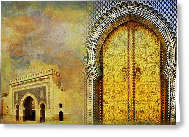 Mexico City Paintings Greeting Cards - Medina of Faz Greeting Card by Catf