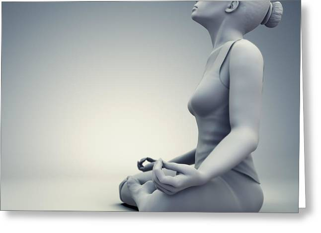 Flexibility Greeting Cards - Meditation Pose Greeting Card by Science Picture Co