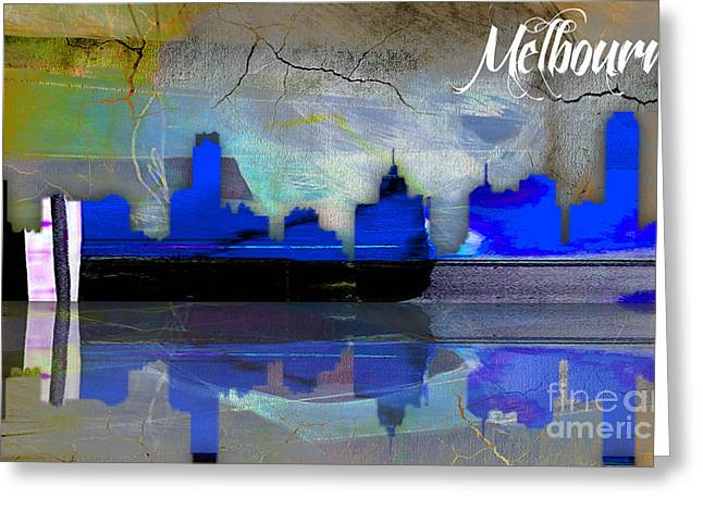 Melbourne Greeting Cards - Melbourne Australia Skyline Watercolor Greeting Card by Marvin Blaine