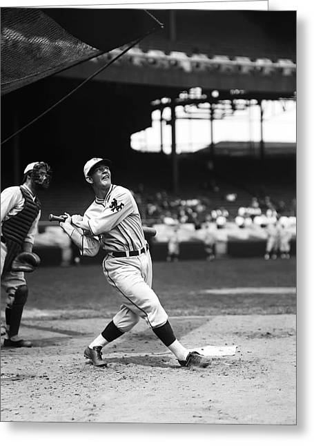 Baseball Game Greeting Cards - Melvin T. Mel Ott Greeting Card by Retro Images Archive