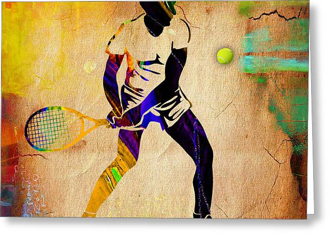 Tennis Match Mixed Media Greeting Cards - Mens Tennis Greeting Card by Marvin Blaine