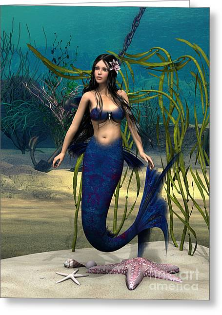 Anchor Underwater Greeting Cards - Mermaid Greeting Card by Design Windmill