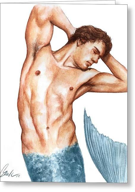 Merman Greeting Card by Bruce Lennon