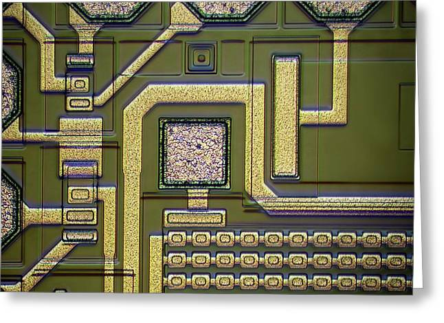 Microchip Surface Greeting Card by Frank Fox