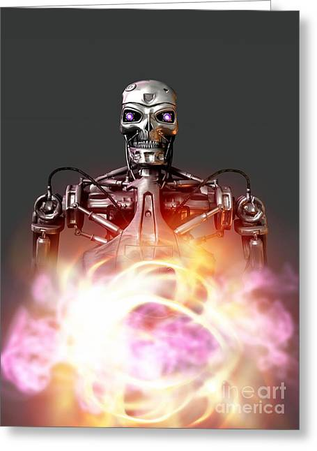 Automated Greeting Cards - Military Robot, Artwork Greeting Card by Victor Habbick Visions