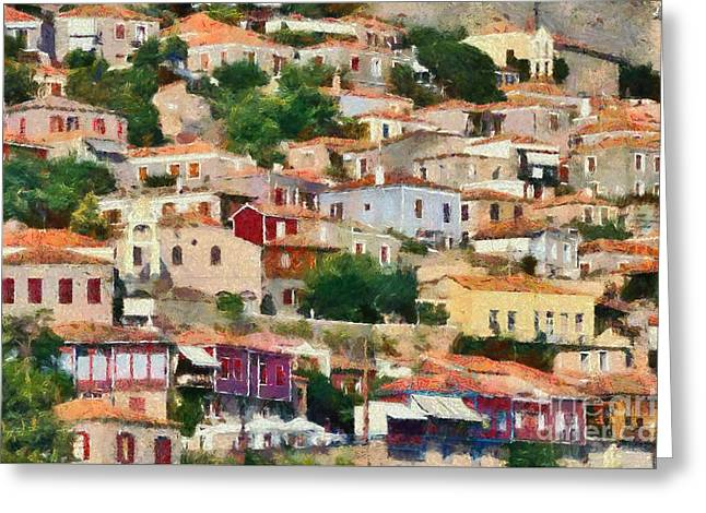Port Greeting Cards - Molyvos town in Lesvos island Greeting Card by George Atsametakis