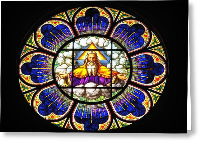 Stained Glass Glass Greeting Cards - Monastery Stained Glass Greeting Card by Mountain Dreams