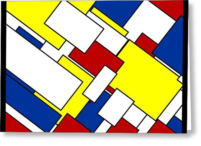 Circles Squares Triangle Textured Greeting Cards - Mondrian Rectangles Greeting Card by Adam Asar