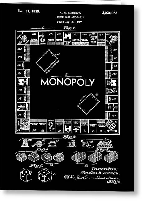 Monopoly Greeting Cards - Monopoly Patent 1935 - Black Greeting Card by Stephen Younts