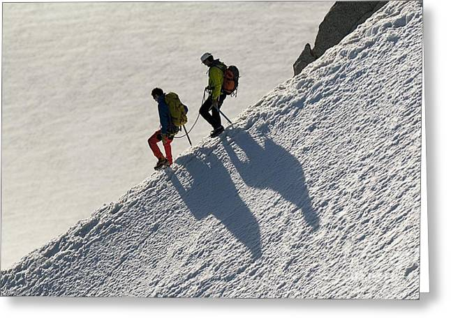 Midi Greeting Cards - Mountaineering In The French Alps Greeting Card by Duncan Shaw