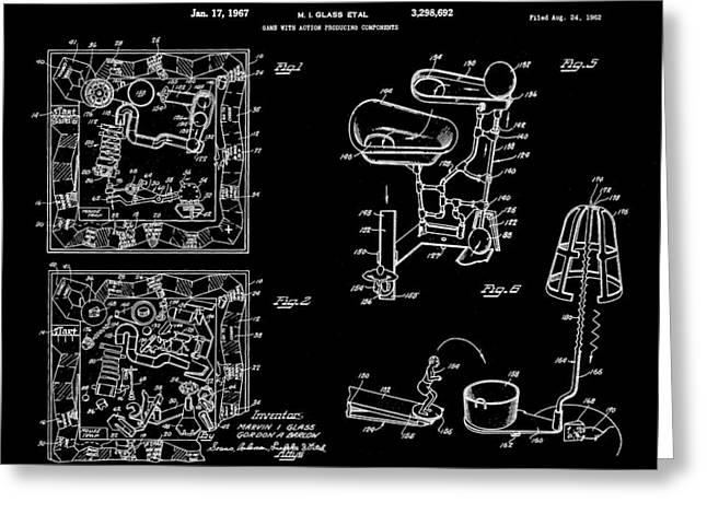 Ideal Digital Art Greeting Cards - Mouse Trap Board Game Patent 1962 - Black Greeting Card by Stephen Younts
