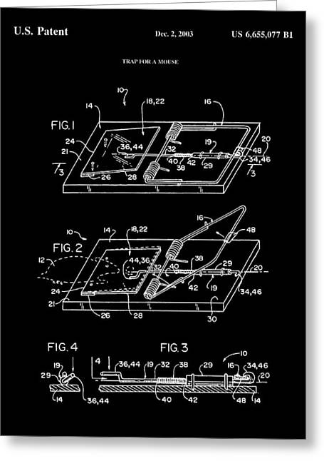 Exterminator Greeting Cards - Mouse Trap Patent - Black Greeting Card by Stephen Younts
