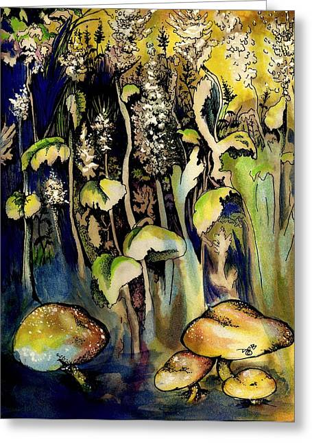 Toadstools Mixed Media Greeting Cards - 4 Mushrooms Greeting Card by Diana Cardosi-Bussone