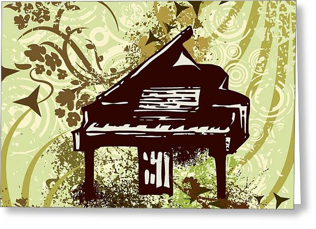 Grungy Drawings Greeting Cards - Musical Backgrounds with instraments Greeting Card by ClipartDesign