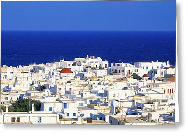 Small Towns Greeting Cards - Mykonos, Greece Greeting Card by Panoramic Images