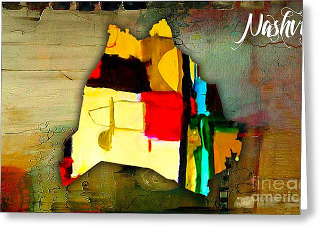 Nashville Map Watercolor Greeting Card by Marvin Blaine