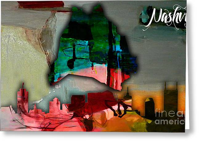Recently Sold -  - Nashville Tennessee Greeting Cards - Nashville Skyline and Map Watercolor Greeting Card by Marvin Blaine