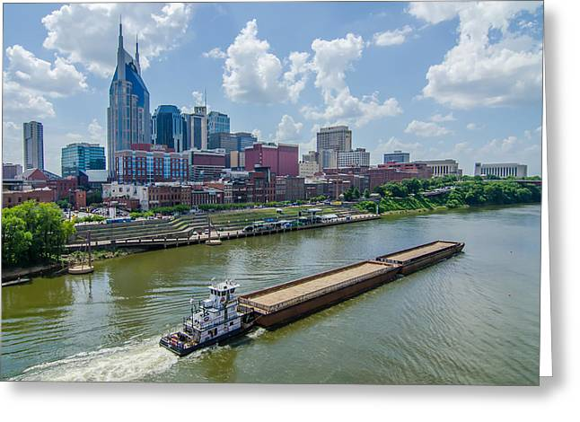 Nashville Tennessee Greeting Cards - Nashville Tennessee downtown skyline and streets Greeting Card by Alexandr Grichenko