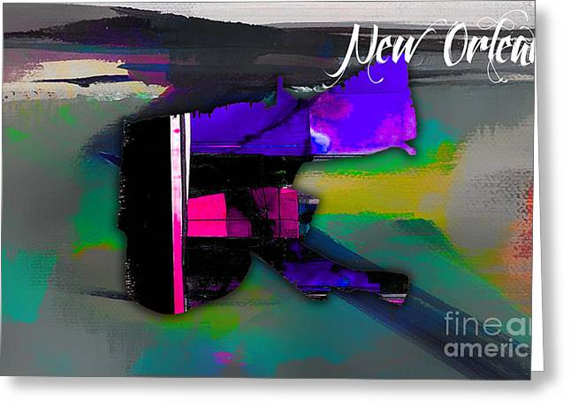 City Skyline Greeting Cards - New Orleans Map Watercolor Greeting Card by Marvin Blaine