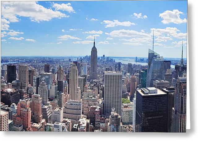 New Greeting Cards - New York City Manhattan panorama Greeting Card by Songquan Deng
