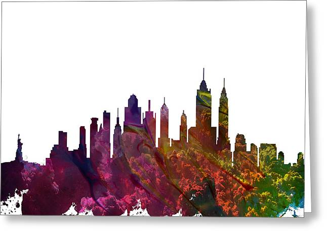 Skylines Mixed Media Greeting Cards - New York City Skyline Greeting Card by Celestial Images